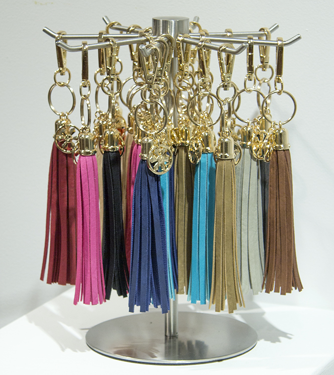 "BL6755AST - Key Chain Gold Metal Ring And Hook With 6"" Tassel- 3 Of Each Of The 19 Colors And Display Spinner"
