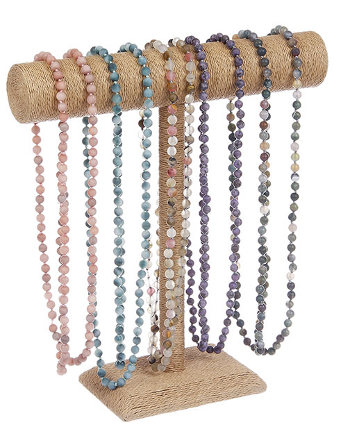 "BL7163ASTD - Necklace 20 Assorted 54"" Handed Knotted   Natural Stone Beads With Honed Finish With Display"