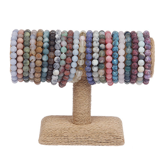 BL7165ASTD - Bracelet Stretch 22 Assorted Natural Stone Beads With Honed Finish Display
