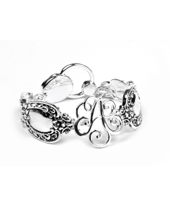 "MO6709A - Magnetic Bracelet Silver With Initial Monogram ""A ""And Vintage Spoon Design On Each Side"