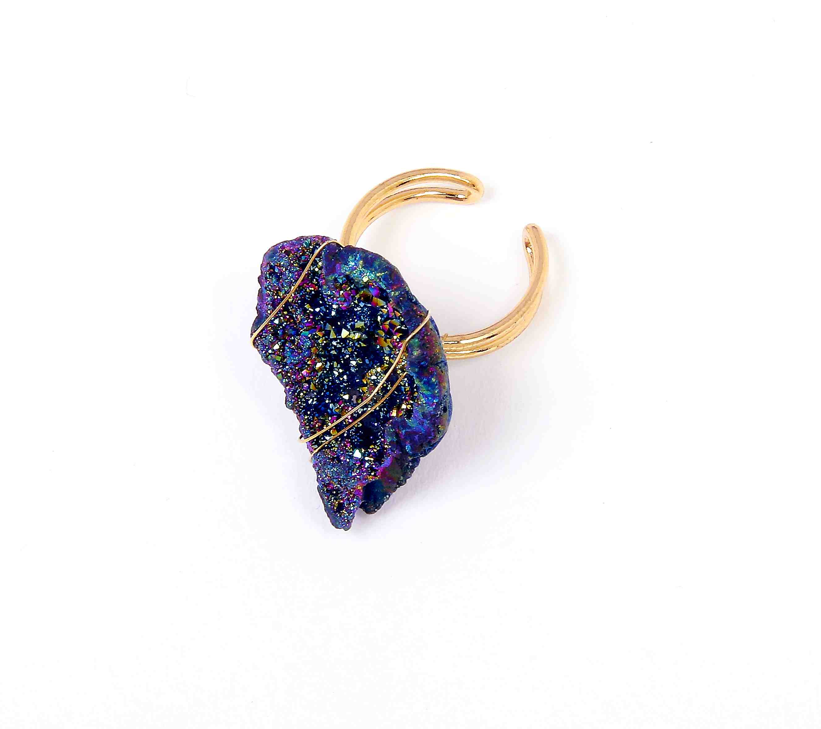 OK5684BL -  Ring Gold Adjustable With Natural Blue Druzy Stone Wrapped In Wire