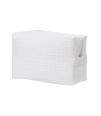 CK61-Waffle Weave White Cosmetic Bag