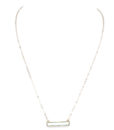 ID6019-Gold Necklace With Mint Green Semi Precious Stone Bar Pendant